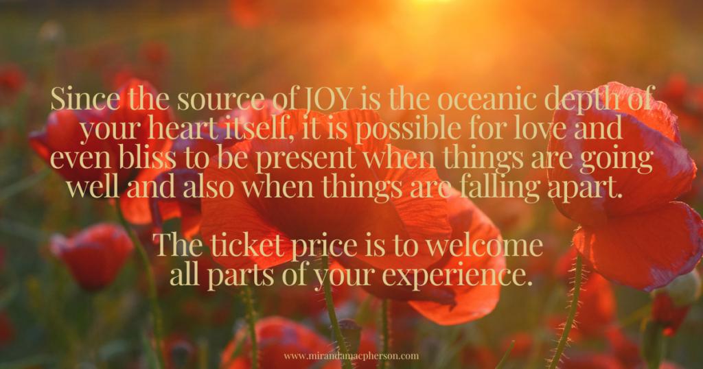 Finding joy in every moment by spiritual teacher Miranda Macpherson